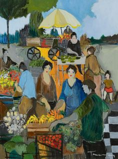 """""""Market Place"""" by Israeli artist Itzchak Tarkay, who with his family, in 1944, spent a year in a concentration camp before emigrating to Israel."""