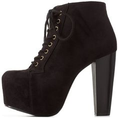 Charlotte Russe Black Lace-Up Platform Chunky Heel Booties by... (63 AUD) ❤ liked on Polyvore