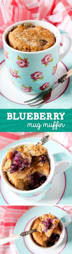 Quick & Easy 5-Minute Blueberry Mug Muffin Recipe by Sweet2EatBaking.com   One of the most quickest and easiest breakfast recipes. A delicately spiced muffin with sweet plump blueberries. Top with extra blueberries, a fruit compote, lemon glaze, nuts, or sprinkles.