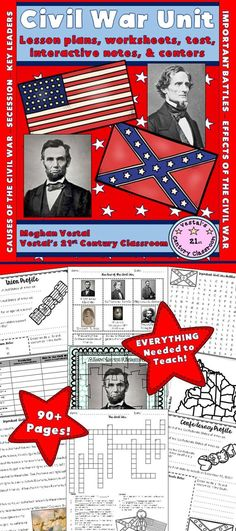 Civil War Unit is a hands-on unit that combines history and language arts skills! Everything you need to teach a unit on the Civil War can be found in this 2 week, 93-page unit! Lessons cover topics related to the Civil War such as reasons for the Civil War, secession, important figures during the Civil War, important battles of the Civil War, how the Civil War ended, and effects of the Civil War.