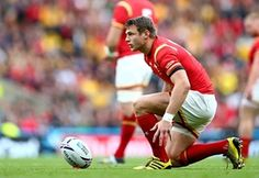 Dan Biggar of Wales lines up his penalty in the Quarter final place battle.