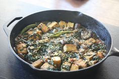 Hearty Tofu and Vegetable curry (Lean Streak) -- a hearty one-dish meal containing stir-fried tofu and eggplant with spinach in garam masala-style indian spices. Combination of ingredients and seasonings makes this a heavy dish to have, therefore ideal for an all-in-one meal.