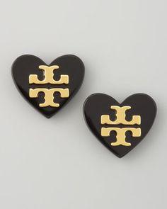 ShopStyle: Tory Burch Logo Heart Stud Earrings