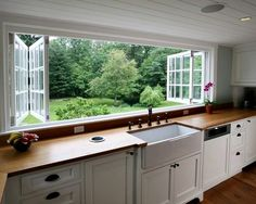 bringing the outdoors in :) I love the butcher block counter tops and farm sink great kitchen.