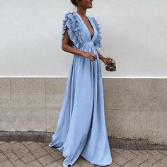 2019 Women Summer Autumn Dress Vintage Elegant Ruffles Petal Sleeve Party Sexy Deep V-neck Backless Maxi Dresses Vestidos 6Q2314