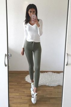 white top with high waist pants