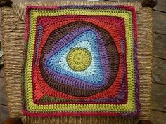 Triangle Tango, Crochet. FREE square pattern on Ravelry.