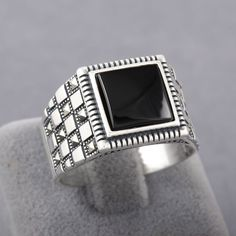 Black Onyx Marcasite 925 Sterling Silver Turkish Men's Plaid Style Size 8 - 13 | Jewelry & Watches, Men's Jewelry, Rings | eBay!