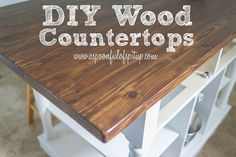"""Wood Countertops A Spoonful of Spit Up: DIY Wood """"Butcher Block"""" Countertops Diy Wood Countertops, Kitchen Countertop Materials, Wood Counter Tops Diy, Inexpensive Kitchen Countertops, Countertop Redo, Kitchen Cabinets, Home Renovation, Home Remodeling, Kitchen Remodeling"""