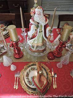 Christmas Table Setting: Lenox Holiday Tartan & Beautiful Fitz and Floyd Santa-Reindeer Centerpiece