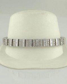 """6.00 CT Round Cut VVS1 Diamond Tennis Bracelet 7/"""" pouces 14K Or Blanc Sur"""