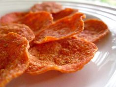 "Previous pinner: ""Pepperoni Chips (I use turkey pepperoni & microwave for 60-90 seconds in a single layer on a paperplate, very little fat & crisp up tasty -- low carb, high protein)"" -- comment also suggests great with ranch dip  Me: These are really good but very salty!"