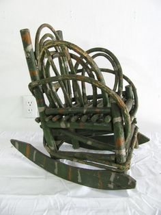Folk Art Painted Child's Twig Rocking Chair