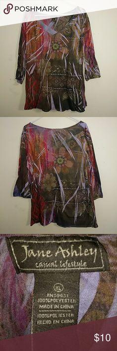 Jane Ashley shirt Size XL #JaneAshley casual lifestyle shirt. Beautiful colors! Jane Ashley Tops Tees - Long Sleeve