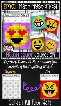 Your students will have fun practicing multiplication as they solve emoji mystery pictures! Students solve math problems and color by code.  There are 5 engaging, print-and-pass-out activity pages! Also included are answer keys and 2 work mats to choose f