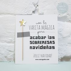 varita navidad sobremesas Christmas Baby, Christmas Time, Merry Christmas, Xmas, Tarjetas Diy, Little Presents, Ideas Para Fiestas, New Years Party, Secret Santa