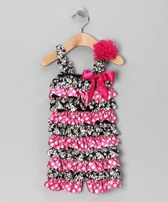 Pink & Black Ruffle Romper & Flower Clip - Infant & Toddler