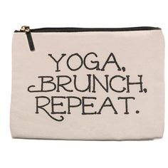 APANA Yoga & Brunch Canvas Pouch ($9.97) ❤ liked on Polyvore featuring beauty products, beauty accessories, bags & cases and natural