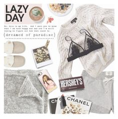 """Sleep In: Lazy Day"" by preciouspearll ❤ liked on Polyvore featuring Lounge & Sleep, Hollister Co., Assouline Publishing, Wallflower, Casetify, Laundry, Hershey's, Garance Doré, LazyDay and sleepwear"
