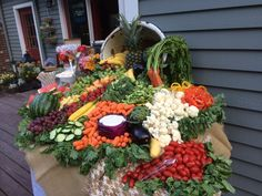 Fruit and veggie display. Wedding display