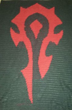 World of Warcraft HORDE throw, made to order, crochet