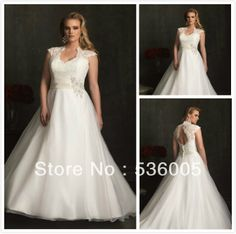 TC009---Beautiful Plus Size Court Train Organza with Lace A-line Wedding Dress with Sleeve