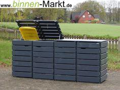 Mülltonnenverkleidung Holz, Anthrazit Grau / Mülltonnenbox Holz, Anthrazit Grau
