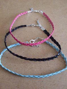 braided flat leather anklet/bracelet hippy boho festival summer beach funky