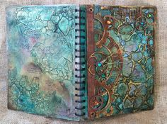 Art Journal Cover Using My NEW TCW Stencils And Dusty Attic Chipboard