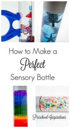 Tips and tricks to make a perfect sensory bottle - the first time! DIY recipes for rainbow, magnetic, and other sensory bottles for preschool and kindergarten. Sensory Bottles Preschool, Preschool Science, Sensory Bins, Sensory Activities, Infant Activities, Sensory Play, Activities For Kids, Crafts For Kids, Kindergarten Sensory