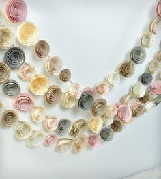 Neutral, Ivory & Pink Paper Flower Garland - Set of 4