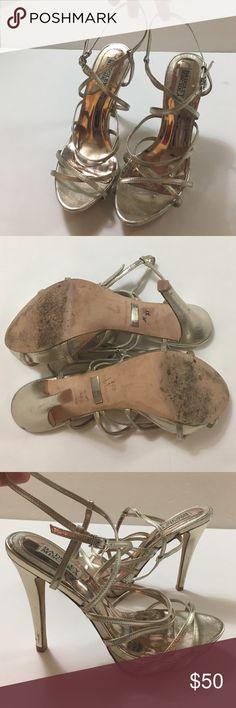 "Badgley Mischka Gold Strappy Leather Heels 8M GUC Toe to heel length: 9.5"" Heel Height: 4.5"" Platform height: 1"". Minor scuffing on heels shown in pictures. Badgley Mischka Shoes Heels"