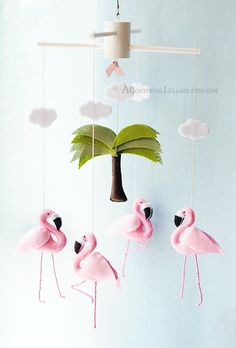 Pink Flamingo Baby Mobile Baby Girl Nursery by AContinualLullaby