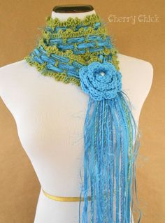 Missy Rose Crocheted Lariat Scarf in Blue by Cherry Chick on Etsy, $45.00 #VictorianScarf #LariatRoseScarf #CrochetedScarf #Crochet #Crochet #CherryChick #Scarfie