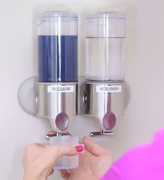 Keep detergent in a clear wall mounted soap dispenser.