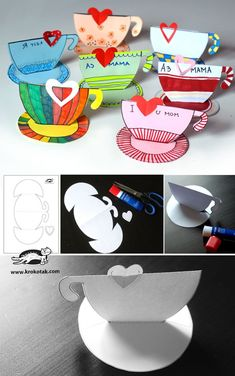 Teacup printable for story time Mothers Day Crafts For Kids, Mothers Day Cards, Diy For Kids, Teapot Crafts, Diy And Crafts, Paper Crafts, I Love Mom, Grandparents Day, Craft Activities