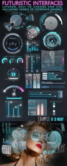 Futuristic Interface (HUD) design template - one of the most downloaded files #ui #web #futuristic
