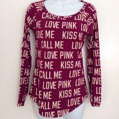 VS pink long sleeve shirt Fuchsia w cream letters. Cotton blend PINK Victoria's Secret Tops Tees - Long Sleeve
