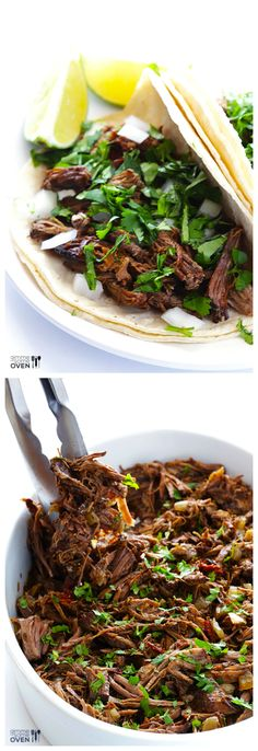 Homemade Barbacoa -- flavorful, tender, so easy to make in the slow cooker, and perfect for tacos, burritos, and more! | gimmesomeoven.com