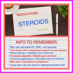 Nursing Info Card: Steroids. Quick reference card of points that every medical professional needs to know about steroids.