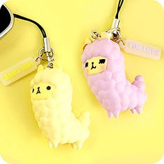 Kawaii Alpaca Duo Phone Charm Set at Tofu Cute