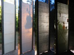 Translucent concrete by architect Andrea Bittis. An array of tiny glass fibers are embedded in concrete blocks to allow light to pass through.