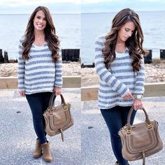 IG @mrscasual <click through to shop this look> Striped sweater.  Ankle booties.  Chloe marcie tote bag.  Miracle links necklace.