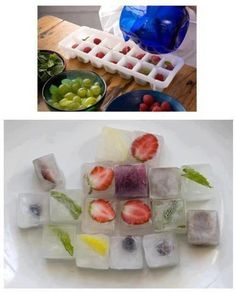 fruit ice cubes. they look pretty and you can eat the fruit afterwards..... boil the water first then freeze for clear ice