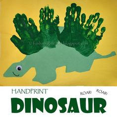 Cure their boredom with this adorbs kids craft. Make a handprint dinosaur with the kiddies this summer! Kids DIY craft they'll love.