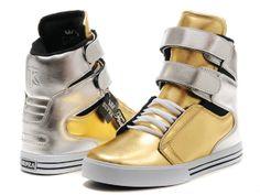 Mens Supra TK Society Gold Silvery Heel Shoes