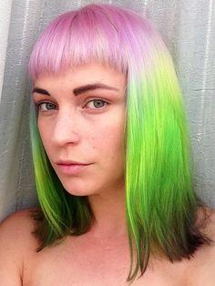 pastel purple green hair color
