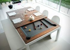 A dining table that turns into a pool table - Genius! #productswelove #furniture #cool