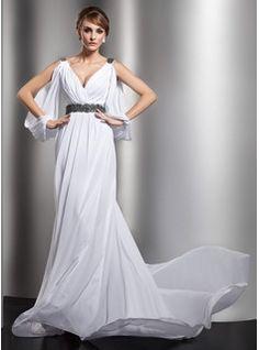 Sheath/Column V-neck Court Train Chiffon Satin Wedding Dresses With Ruffle Beadwork