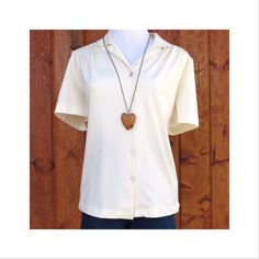 Cream Blouse Scallop Collar Vintage 70's Dolly Top Scalloped 1970's Hippie Boho Shirt Button Up Hipster Indie Neutral Ivory Size Large